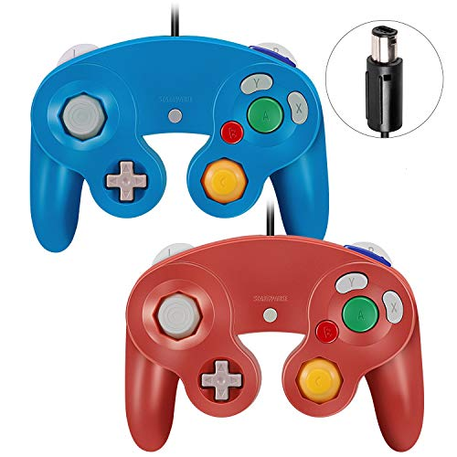 VOYEE Gamecube Controller - 2 Pack Classic Wired Controllers Gamepad for Nintendo Wii Gamecube (Blue & Red)