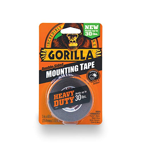 Gorilla Heavy Duty Double Sided Mounting Tape, 1' x 60', Black, (Pack of 1)