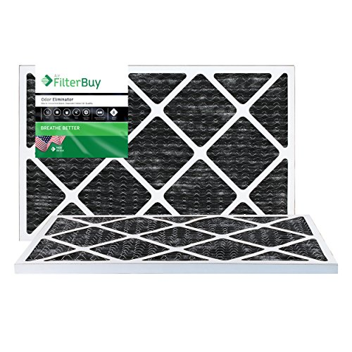 FilterBuy Allergen Odor Eliminator 16x25x1 MERV 8 Pleated AC Furnace Air Filter with Activated Carbon - Pack of 2-16x25x1