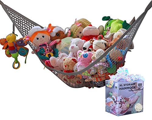 MiniOwls Toy Storage Hammock - Organizational Stuffed Animal Net for Play Room or Bedroom. Fits 20-30 Plushies. Comes in a Gift Box. (Grey, Large)