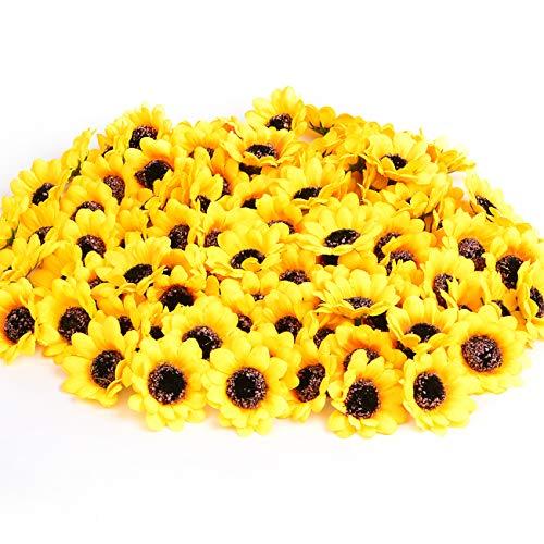 KINWELL 100pcs Mini Artificial Silk Yellow Sunflower Heads 1.8' Fabric Floral for Home Decoration Wedding Decor, Bride Holding Flowers,Garden Craft Art Decor
