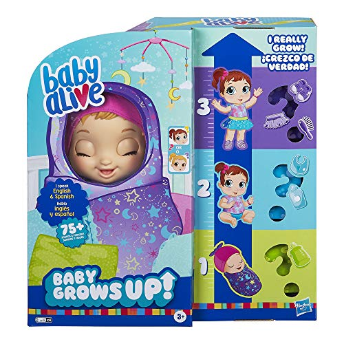 Baby Alive Baby Grows Up (Dreamy) - Shining Skylar or Star Dreamer, Growing and Talking Baby Doll, Toy with 1 Surprise Doll and 8 Accessories