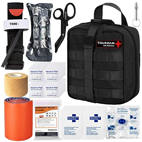 TOUROAM IFAK Molle Trauma Kit- Emergency Survival First Aid Kit, Military Tachtical Admin Pouch EMT, Bug Out Bag Camping Gear Supplies Hiking Car