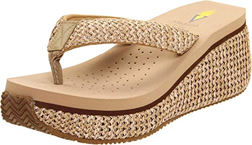 Volatile Women's Island Wedge Sandal, Natural, 9 B US