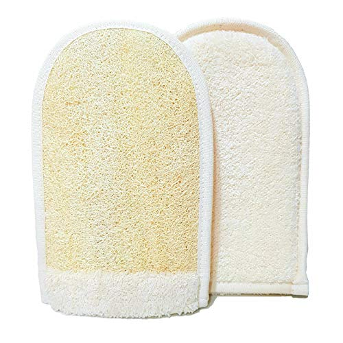 EUROPEAN M6, Premium Quality Natural Loofah Sponge, Dual Side Big Size Exfoliating Loofah Glove, Made Natural Organic Shower Loofah and Soft Cotton Materials, Amazing Mitt, Deep Body Cleaning