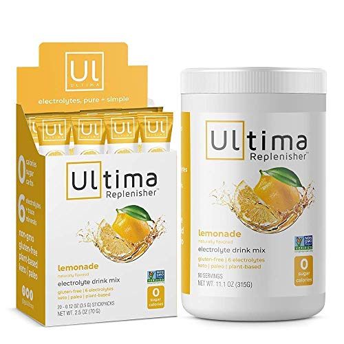 Ultima Replenisher Electrolyte Hydration Drink Mix, Lemonade, Home and On-The-Go Pack - Sugar Free, 0 Calories, 0 Carbs - Gluten-Free, Keto, Non-GMO with Magnesium, Potassium, Calcium