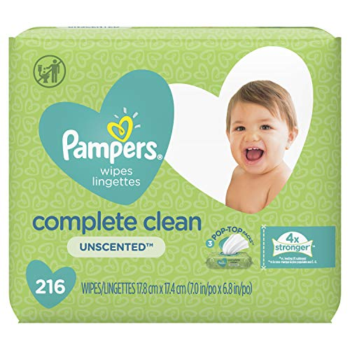 Pampers Baby Wipes Complete Clean Unscented 3X Pop-Top 216 Count