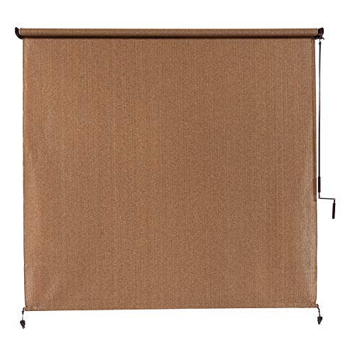 Coolaroo 462178 Outdoor Cordless Exterior Roller Shade, (4' x 8'), Walnut