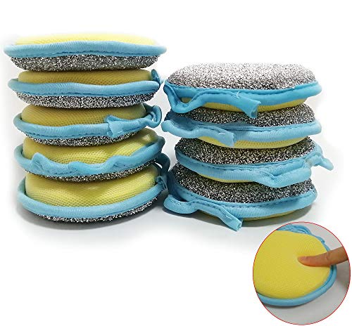 CAMSTIC Dual Action Kitchen Cleaning Microfiber Scouring Scrubber+Round Dish Washing Sponge, 10 Pack (Upgraded)