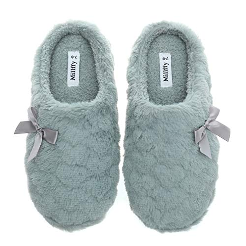 Womens Mens Indoor Slippers Winter Warm Fuzzy Plush Fur Anti-Slip House Bedroom Slippers (US 5-6, Grey)