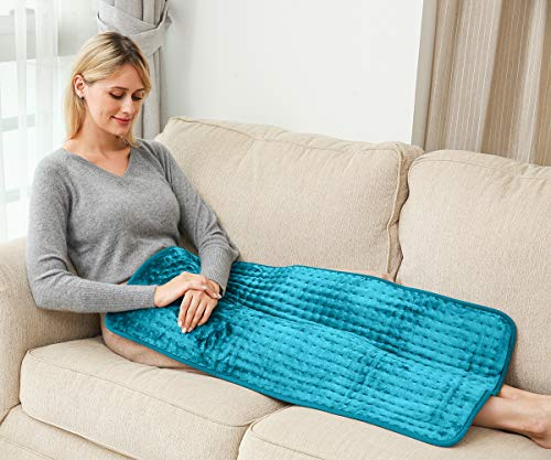 Ambershine 45cmx85cm XXXXL King Size Heating Pad with Fast-Heating Technology&6 Temperature Settings, Flannel Electric Heating Pad/Pain Relief for Back/Neck/Shoulders/Abdomen/Legs (Light Teal)