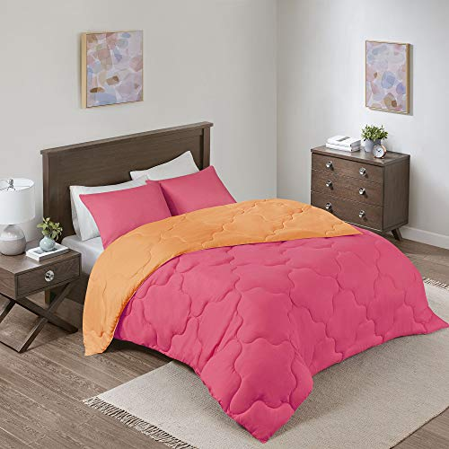 Comfort Spaces Vixie 3 Piece Comforter Set All Season Reversible Goose Down Alternative Stitched Geometrical Pattern Bedding, Full/Queen, Pink/Orange
