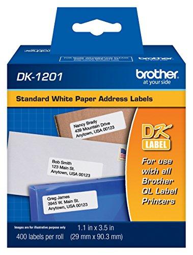 "Brother Genuine DK-1201 Die-Cut Standard Address Labels – Long Lasting Reliability, Die-Cut Standard Address Paper Labels, 1.14"" x 3.5"" Individual Label Size, 400 Labels per Roll, (1) Roll per Box"