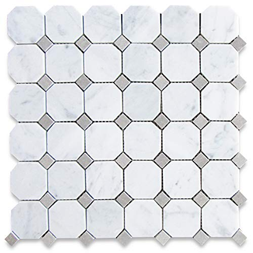 Stone Center Online Carrara White Italian Carrera Marble Octagon Mosaic Tile Gray Dots 2 inch Honed Venato Bianco Kitchen Backsplash Bathroom Floor Tile