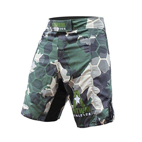 Anthem Athletics Resilience MMA Shorts - Fight Shorts, BJJ, WOD, Cross-Training, OCR - Green Camo Hex - 32'