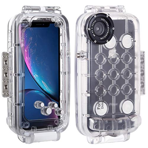 Haweel for iPhone XR Underwater Housing Professional [40m/130ft] Diving Case for Diving Surfing Swimming Snorkeling Photo Video with Lanyard (iPhone XR, Transparent)