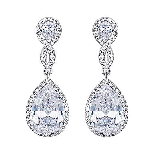 EVER FAITH Zircon Austrian Crystal Wedding 8-Shape Pierced Dangle Earrings Clear Silver-Tone
