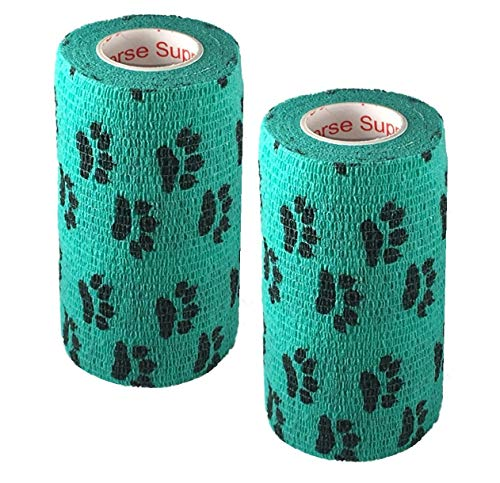 Vet Wrap Rap Tape (Teal with Paw Prints) (2 Pack) (2 Inch x 15 feet) Self Adhesive Adherent Adhering Cohesive Flex Self Stick Bandage Grip Roll Dog Cat Pet Horse