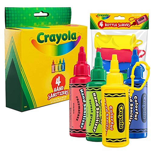 CRAYOLA Kids Hand Sanitizer Gel, (4-Pack) 2 oz Travel Size, 75% Ethyl Alcohol, Advanced No-Rinse Moisturizing Gel, Made in USA, 4 Colorful Matching Keychain Backpack Holders Included.