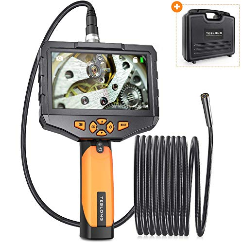 Teslong Inspection Camera with Monitor, Handheld Industrial Endoscope with 4.5inch IPS Display, 16.4ft Waterproof Gooseneck Borescope with 8 LED Lights, 32G Memory Card, Tool Case