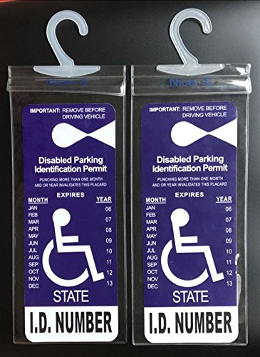 Handicapped Parking Placard Holder (2 Pcs)- Disabled Parking Permit Holder - Placard Protective with Larger Hook Fit Rearview Mirror