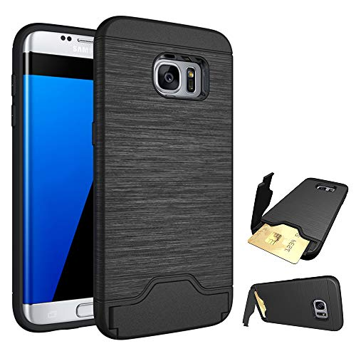 Phone Case for Samsung Galaxy S7 Edge Cases with Credit Card Holder Slot Kickstand Stand Heavy Duty Hybrid Hard Rugged Shockproof Dual Layer Protective Cover Samsung 7Edge S7edge Girls Men Black