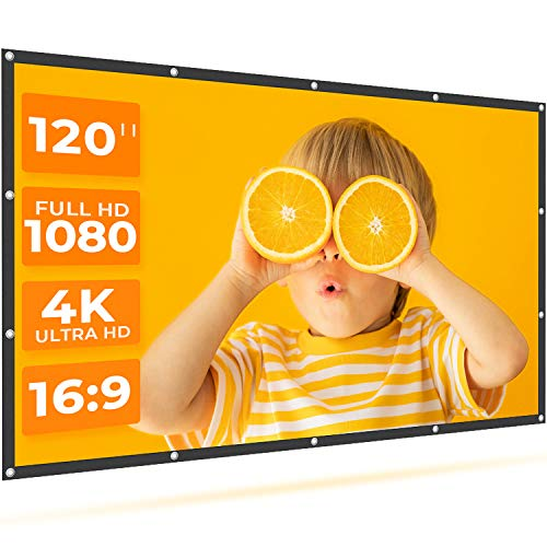 VANKYO StayTrue Projector Screen, 120 Inch Projection Screen 4K HD, 16:9, Foldable Wrinkle-Free Movies Screen(1.1 GAIN, 160°Viewing Cone) for Home Theater, Support Front & Rear Projection
