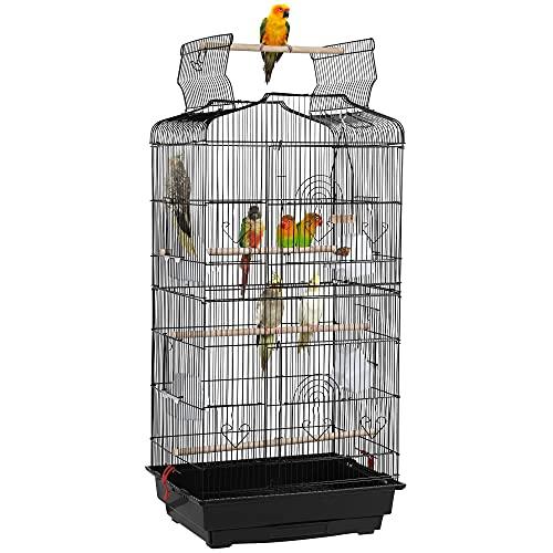 YAHEETECH 36-inch Open Top Hanging Medium Parakeet Bird Cages for Parakeets Finches Canaries Lovebirds Small Quaker Parrots Cockatiels Budgie Green Cheek Conure Travel Pet Flight Bird Cage Birdcage