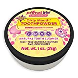 Primal Life Organics   Dirty Mouth Organic Tooth Powder   Gently Polishes, Whitens, Re-Mineralizes, Strengthens Teeth   1 Ounce (3 Month Supply)   Sweet Bubblegum