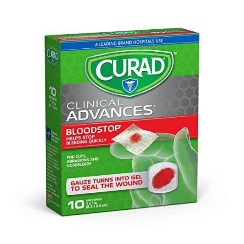 Curad Bloodstop Hemostatic Gauze, Helps Stop Bleeding Quickly, 1' x 1', 10 Count