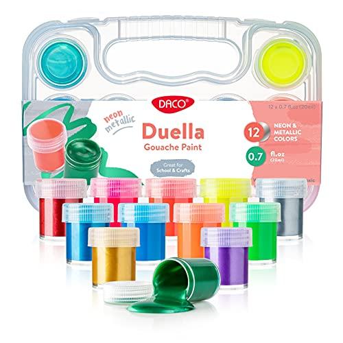 DACO Duella Kids Paint, 12 Colors Art Set, 0.7 fl.oz (20ml) Paint Pots with Carry Case, School Supplies for Kids, Non Toxic Gouache Paint, Washable Paint for Kids, Art and Craft Supplies & Materials