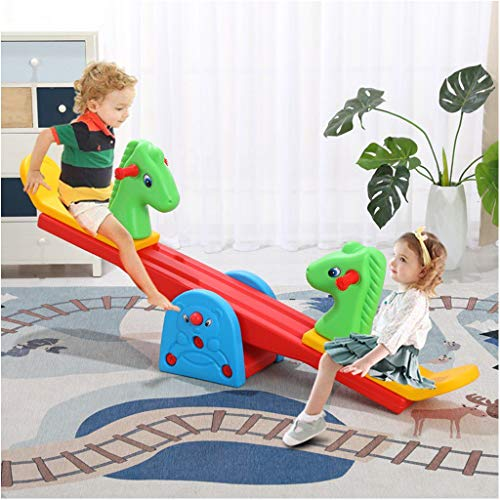 Hopwin Toddler Seesaw, Teeter-Totter Home Playground Equipment,Safe Seesaw Bouncer Teeter Totters Backyard Playground Set with Easy-Grip Handles Outdoor Fun for Kids (from US, Multicolour)