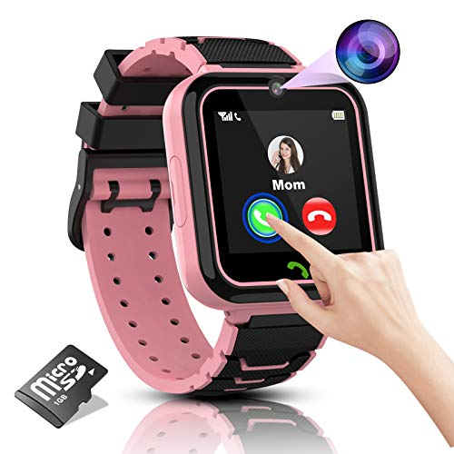 Kids Smart Watch Boys Phone Camera Selfie SOS Calling Smartwatch for Kids Waterproof IPX5 Games Touch Screen Alarm Sound Recorder Music Player Calculator 3-12 Years Old Boys and Girls (Pink)