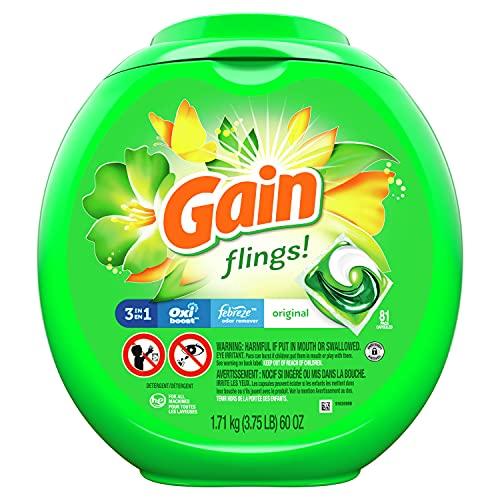 Gain flings! Laundry Detergent Soap Pacs, High Efficiency (HE), Original Scent, 81 Count