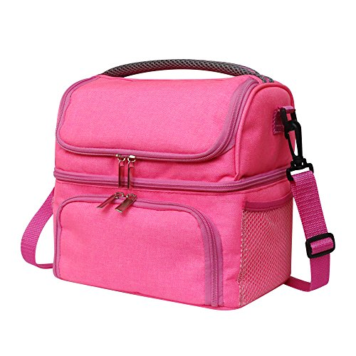 Pink Insulated Lunch Bag for Girls or Women, With Dual Waterproof Compartments,Capacity Cooler Tote, for Breakfast/Tiffin/Dinner, Thermal/Warm/Heated Medium Bag with Handle and Detachable Strap (Pink)