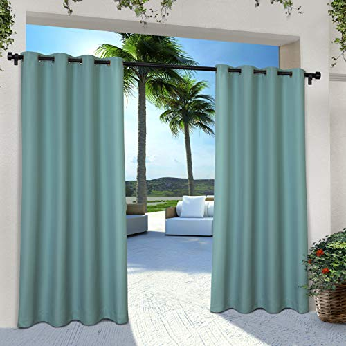 Exclusive Home Curtains Indoor/Outdoor Solid Cabana Grommet Top Curtain Panel Pair, 54x108, Teal, 2 Piece