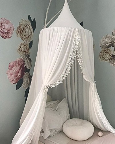 Kids Cotton Bed Canopy, Cotton Mosquito Net, Kids Princess Play Tents, Room Decoration for Baby (White)