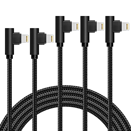 iPhone Cable 5 Pack(3/6/6/10/10FT) MFI Certified iPhone Cable Lightning Fast Charger Nylon Braided Data Cord 90 Degree Elbow for Game Video Compatible with iPhone 12 11 Pro Max XR XS Max iPod (Black)