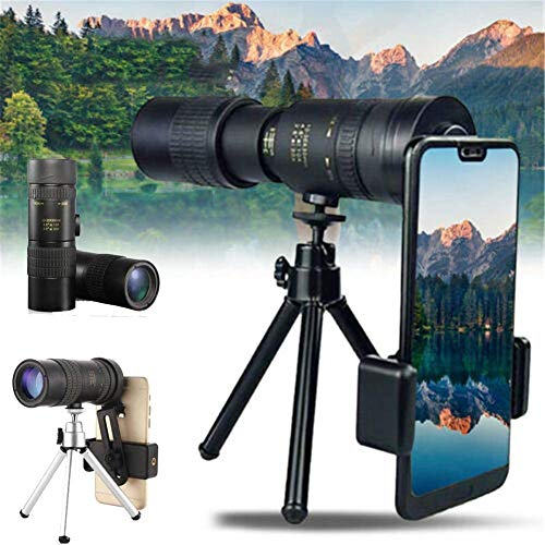 Gehaw 4K 10-300X40mm Super Telephoto Zoom Monocular Telescope Tripod + Clip, for iPhone Smartphone Adapter, Outdoor Mountaineering High Definition Portable with Tripod for Beach Travel