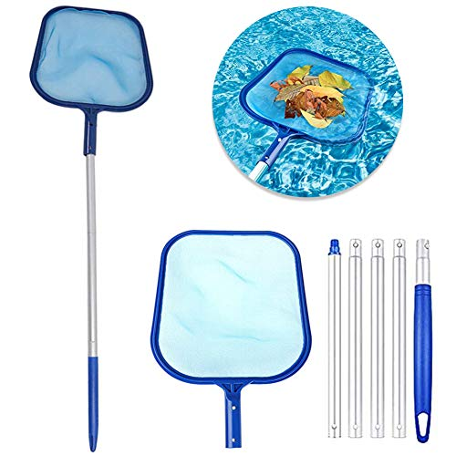 Professional Pool Leaf Skimmer Net Swimming Pool Debris Cleaner Rake Net, Fine Mesh Net for Cleaning Surface of Swimming Pools, Pond, Spas and Fountains - Totally 64inch (Include 48inch Aluminum Pole)