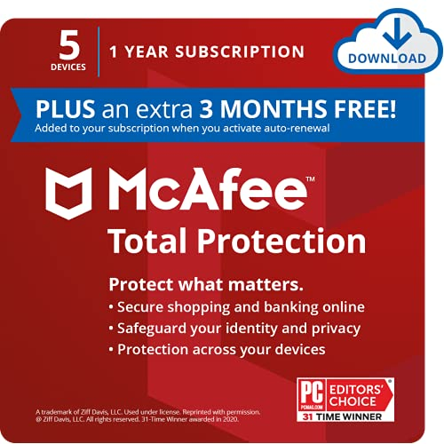 McAfee Total Protection 2021, 5 Device, Antivirus Internet Security Software, Password Manager, Privacy, 1 Year Subscription (PLUS an extra 3 MONTHS FREE) - Download Code