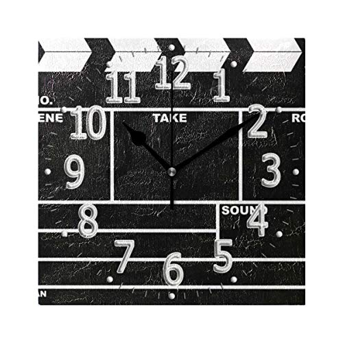 Unimagic 7.9 Inch Silent Square Wall Clock Clapperboard Design Wall Clock Battery Operated Hanging Clock for Living Room Bedroom Office