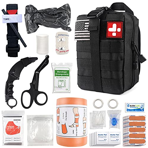 Emergency Survival First Aid Kit with Tourniquet, 6' Israeli Bandage, Splint, Military Combat Tactical Molle IFAK EMT for Trauma Wound Care, Gun Shots, Blow Out, Bleeding Control and More (Black)