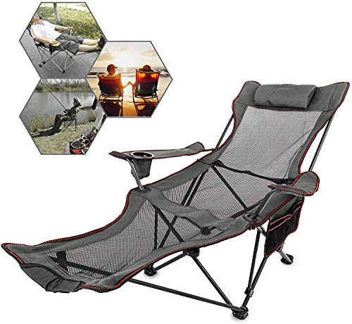Patiolife Portable Chair with Footrest Mesh Gray - Folding Reclining Chair with Footrest - Up to 330lbs Lounge Camping Chairs Footrest for Outdoor Camping
