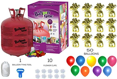 Helium Tank with 50 Balloons and White Ribbon + 12 Gold Balloon Weights + Plus Balloon Tying Tool and Flower Clips and Flower Clips