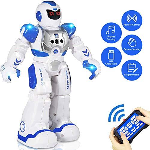 Aukfa Smart RC Robots for Kids Remote Control Robot for Boys, Programmable Gesture Sensing Robotic Toys Boys Singing Walking Dancing Robot Birthday Gift Present for Boys Kids