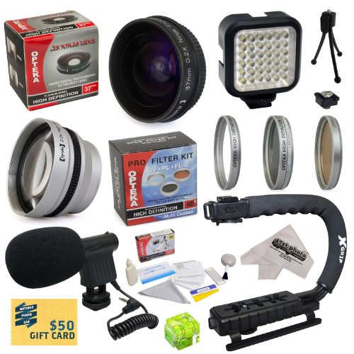 All Sport Accessory Package Kit for Sony HDR-HC9 HDR-CX550 HDR-CX550V HDR-XR550 HDR-XR550V Camcorder Video Camera includes - 37mm 0.2X Low-Profile 'Ninja' Fisheye Lens + 37mm 2.2x Extreme HD AF Telephoto Lens + 37mm 3 Piece HD Filter Kit (UV, CPL, FLD) + X-GRIP Action Stabilizing Handle + High Power 36 Pin LED Video Light + Directional Mini-Shotgun Microphone + Hot Shoe Spirit Level + 5 Piece Lens Cleaning Kit + LCD Screen Protectors + Mini Tripod + 47stphoto Microfiber Cloth Photo Print !