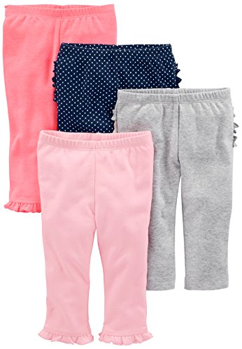 Simple Joys by Carter's Baby Girls 4-Pack Pant, Pink/Grey/Navy Ruffle, 6-9 Months