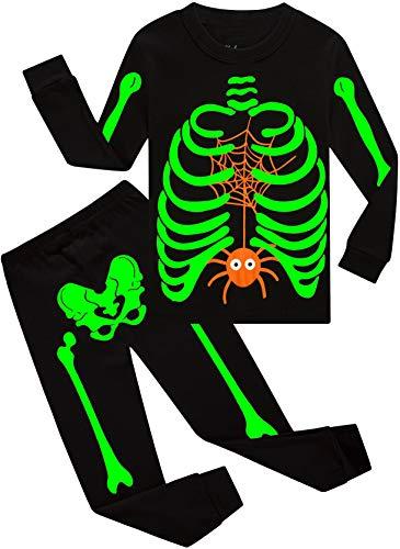 Boys Halloween Pajamas Kids Glow In The Dark Pjs Children Skeleton Clothes Spider Sleepwear 6t