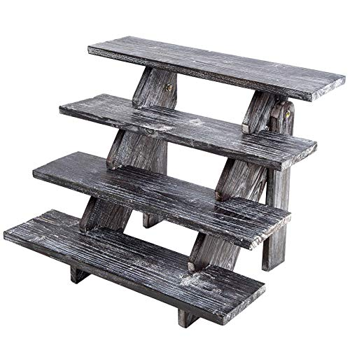 Rustic Cupcake Stand - Wooden Retail Table Display. Wood Cake Stand Display Table. Product, Food, Dessert, Pastry, Cookie, Merchandise, Market, Donut, Craft Show Tabletop Riser - Black